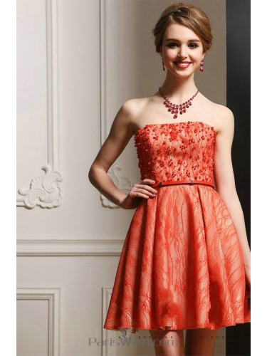 A Line Strapless Beaded Lace Cocktail Short Prom Dress