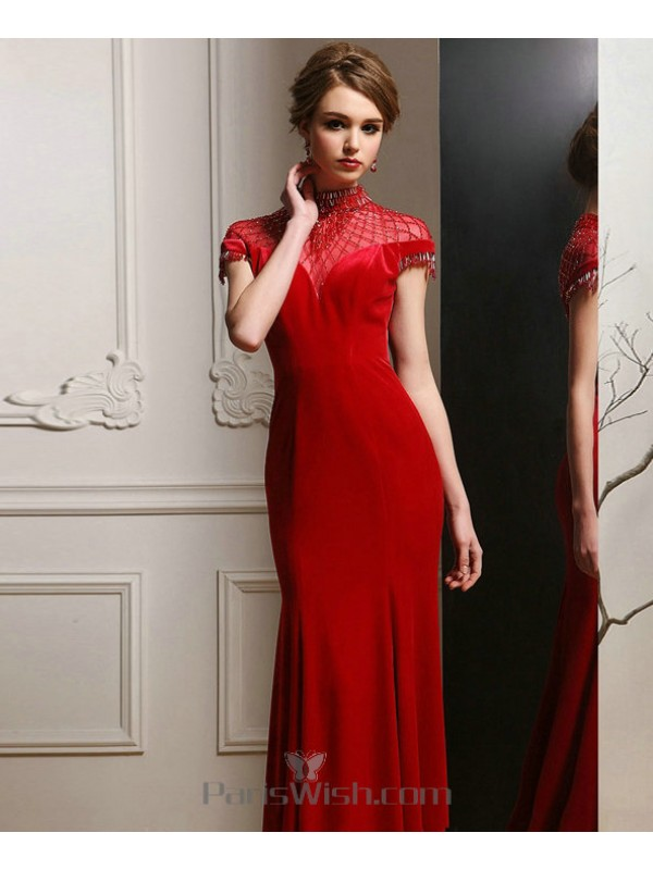 Beaded High Collar Velvet Red Prom Formal Dresses