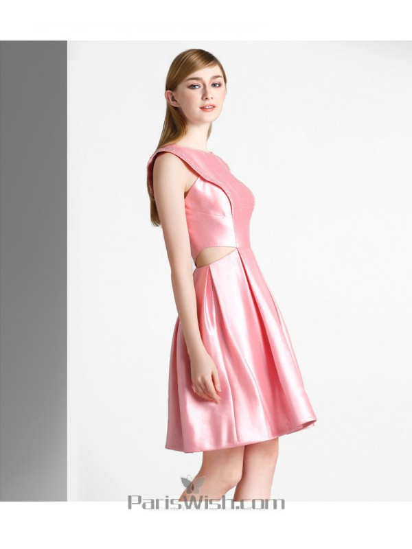 Beaded High Neck Pink Cut Out Cocktail Prom Dresses