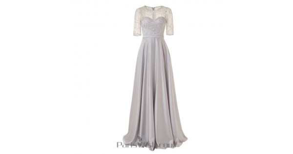 Beaded Lace Illusion Silver Plus Size Prom Dresses With Sleeves