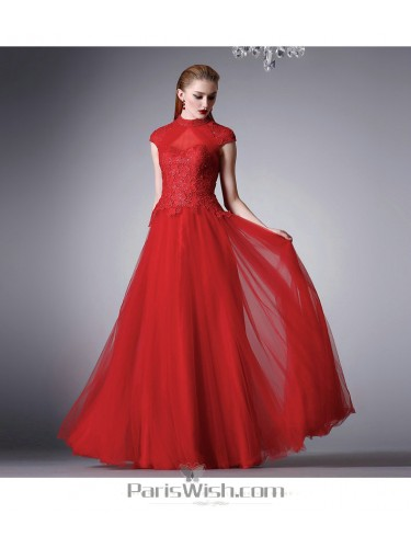 Beaded Lace Tulle Red High Neck Prom Formal Dresses