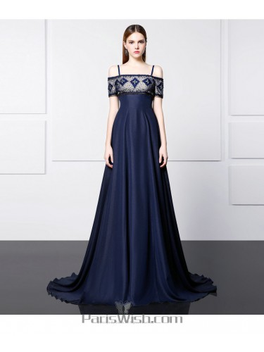 Beaded Navy Blue Cold Shoulder Formal Prom Gowns