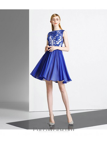 Chiffon Embroidered Blue On Nude Cocktail Prom Dresses With High Neck