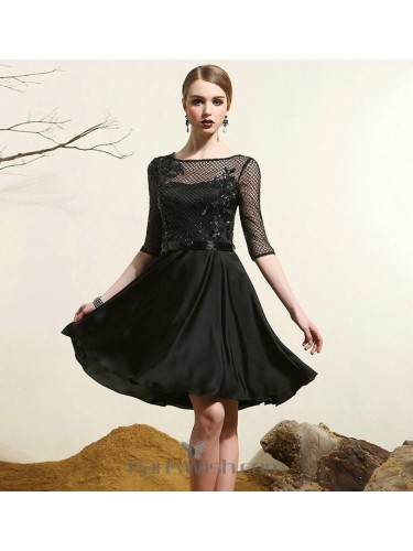 Chiffon Lace Beaded Little Black Dresses With Sleeves