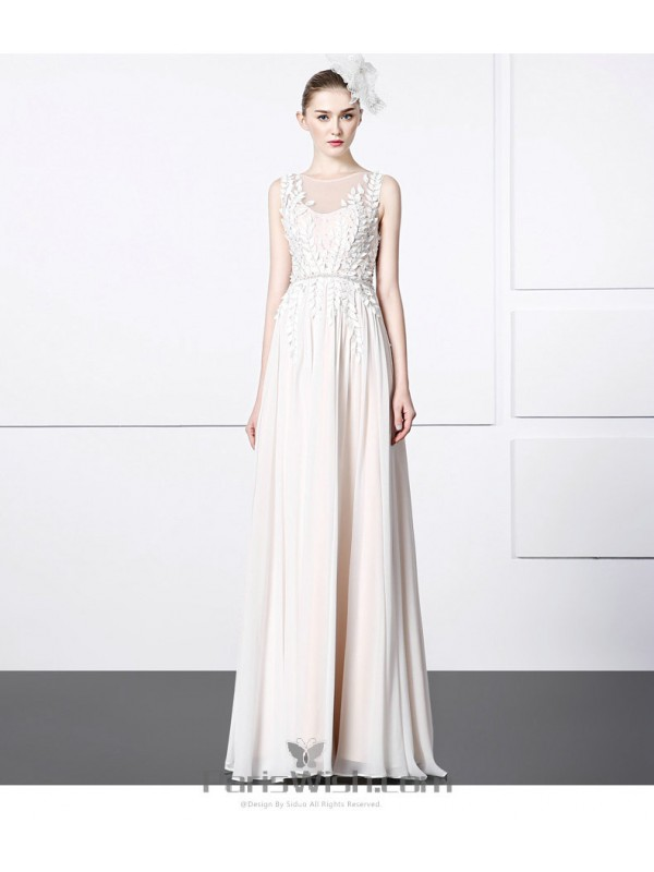 Chiffon Long Cream Prom Formal Dresses With Embroidered Bodice