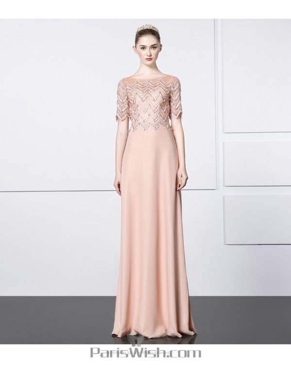 f8d27ed6135b Chiffon Nude Pink Embroidered Beaded Illusion Back Half Sleeves Formal Prom  Dress