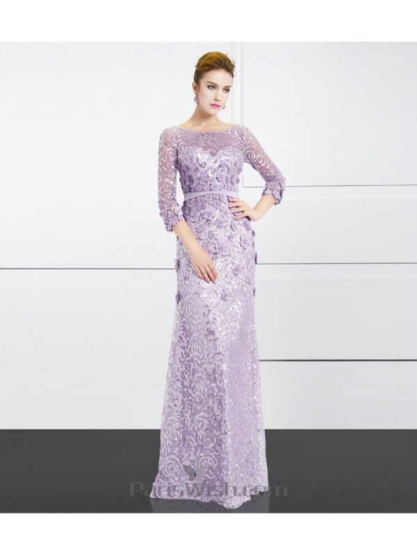 Illusion Neckline Sequin Lace Lavender Long Sleeves Prom Formal