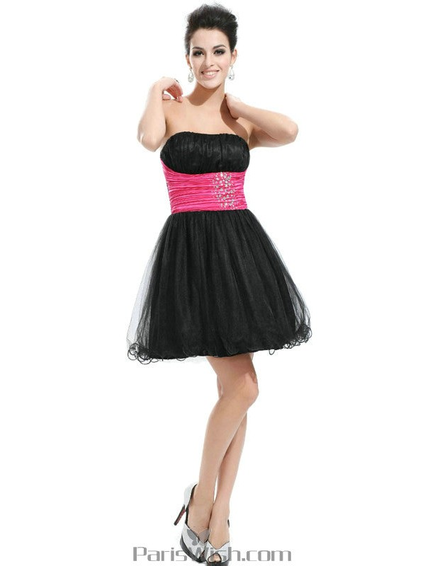 2b229309e18fe A Line Strapless Tulle Short Black Prom Dress With Hot Pink Sash