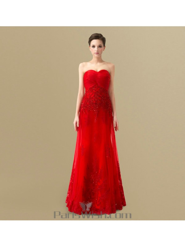 Strapless Red Empire Dress