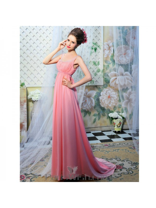 clear and distinctive new high quality durable in use Crinkle Straps Beaded Pink Maternity Prom Formal Dresses