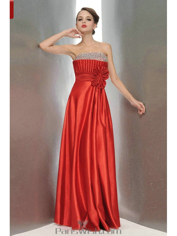 766d9847edb Satin Strapless Red With Silver Prom Dresses