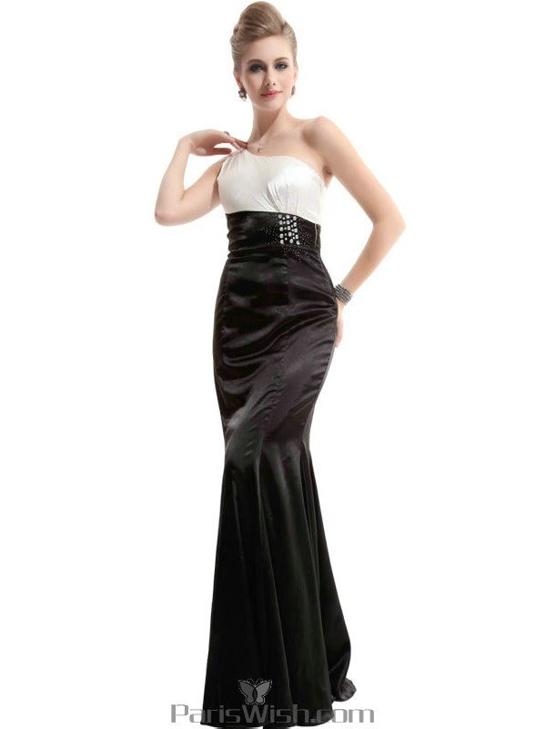 Silky Satin Single Shoulder Black And White Formal Prom Dresses