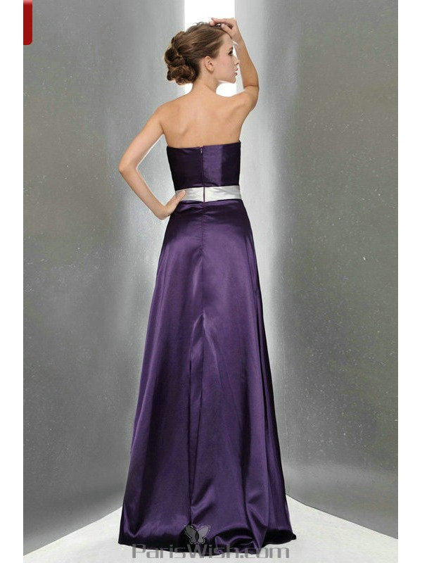 1e43a9d32c2 Silky Satin Strapless Purple Bridesmaid Dresses With Silver Sash