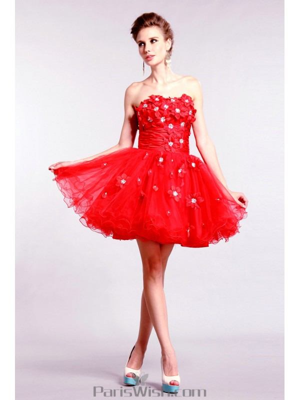 5276d621eaa Tulle A Line Red Floral Cocktail Homecoming Dresses
