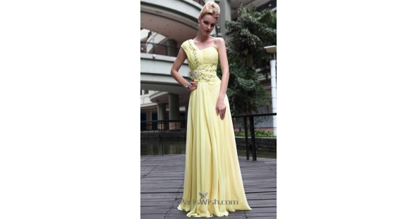 Crinkle Chiffon Beaded Yellow One Shoulder Prom Dresses