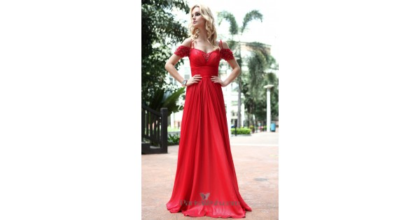 Crinkle Chiffon Red Prom Dresses With Cold Shoulder