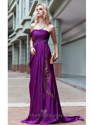 Crinkle Single Strap Purple Prom Dresses With Embroidered And Beaded Details
