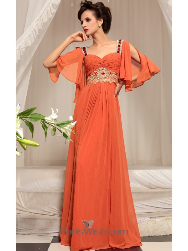 Sweetheart Embroidered Twist Orange Prom Dresses With Flutter Sleeves