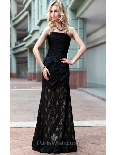 Tiered Strapless Black On Nude Lace Prom Formal Dresses