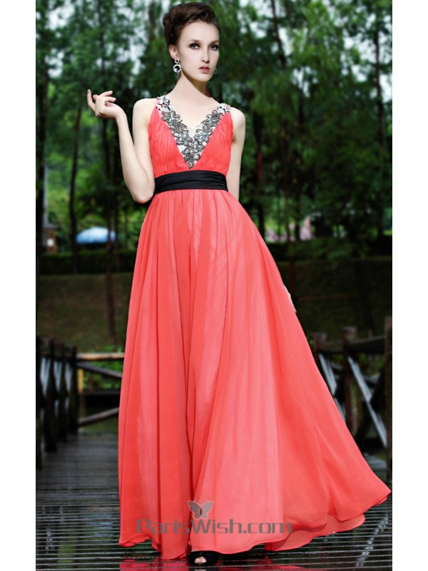 b4234b7741954 V Neck Embroidered Beaded Water Melon Prom Dresses With Black Sash